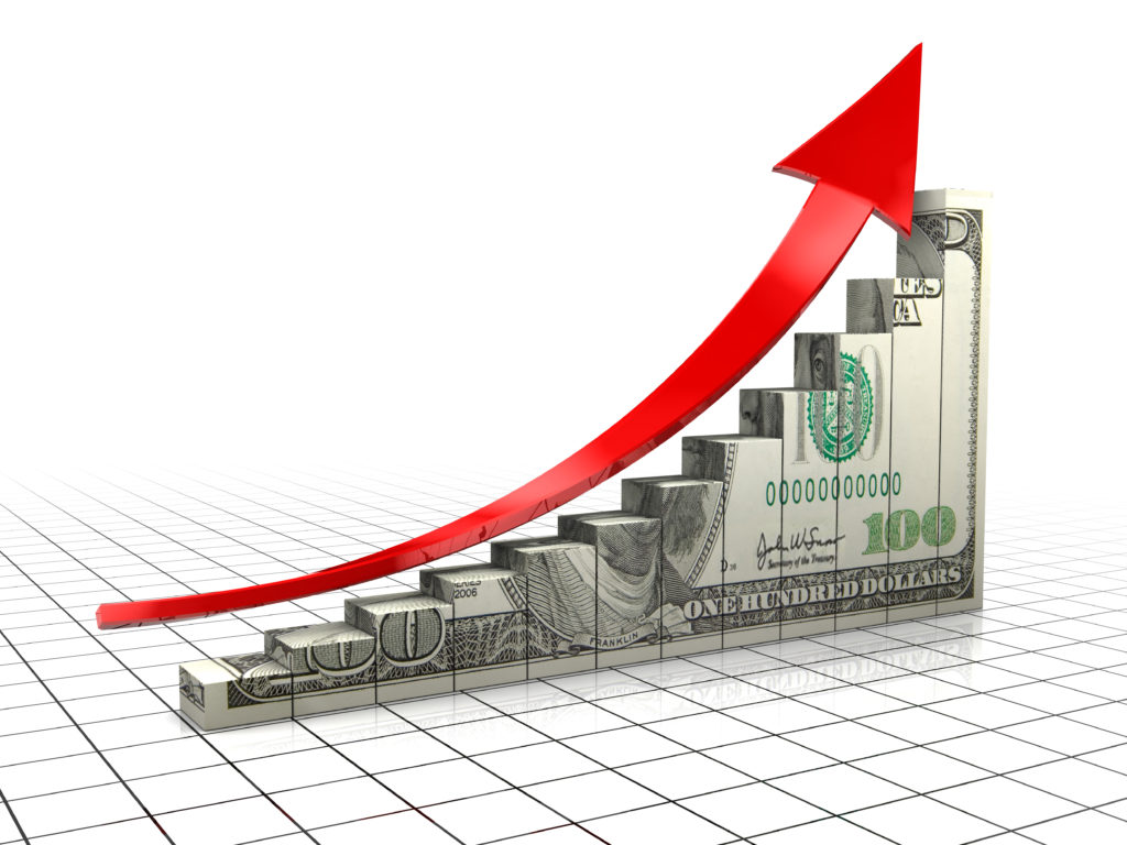 3d illustration of raising charts with dollar texture and upward arrow